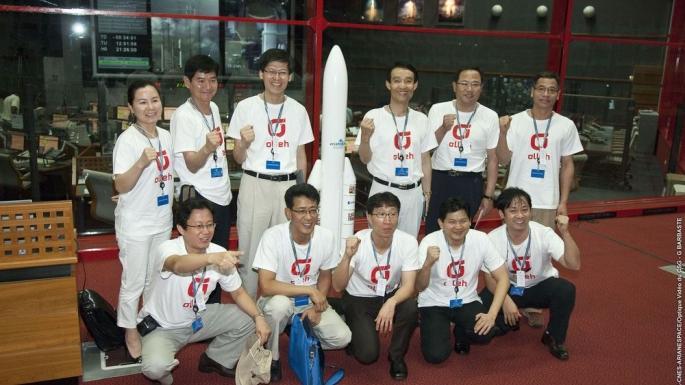 Les équipes de l'Agence spatiale coréenne devant le centre de contrôle Jupiter 2
