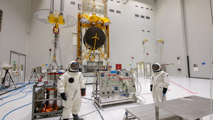 12/10/21 - Une fois arrivé au hall d'encapsulation, SES-17 est positionné sur le système de lancement double (SYLDA)