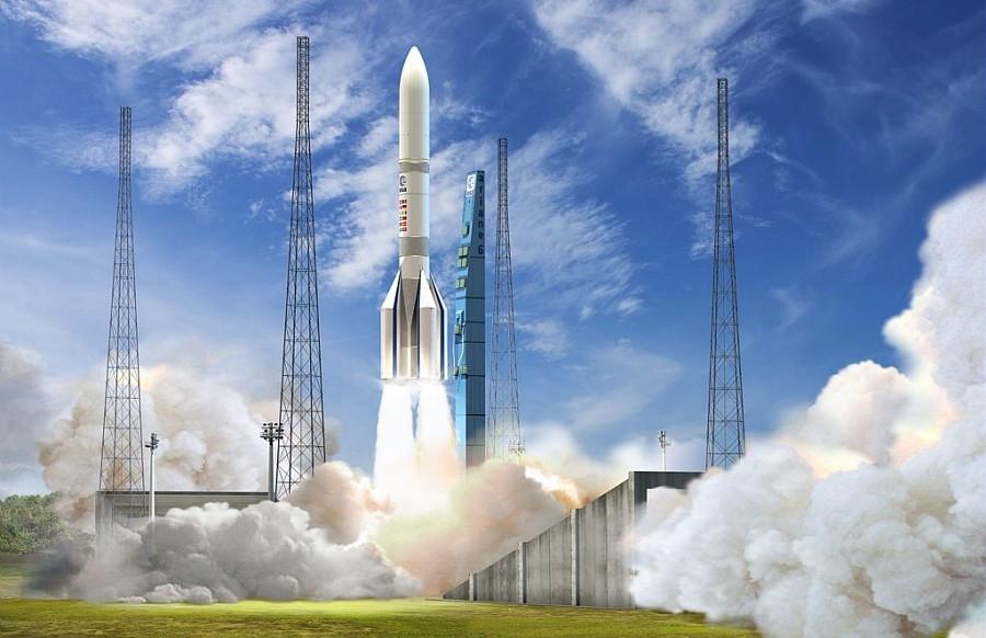 Vue d'artiste d'Ariane 6 au CSG
