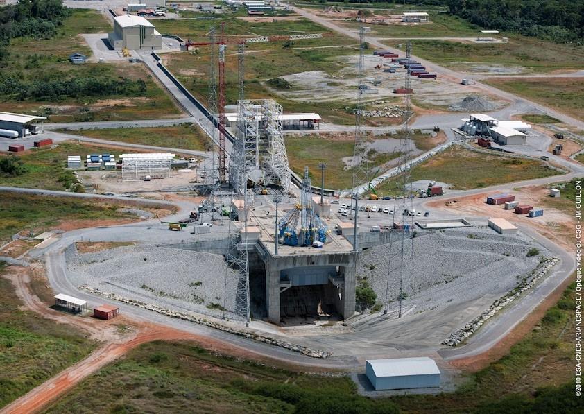 Vue aérienne du chantier Soyouz au CSG lors de sa construction en 2009