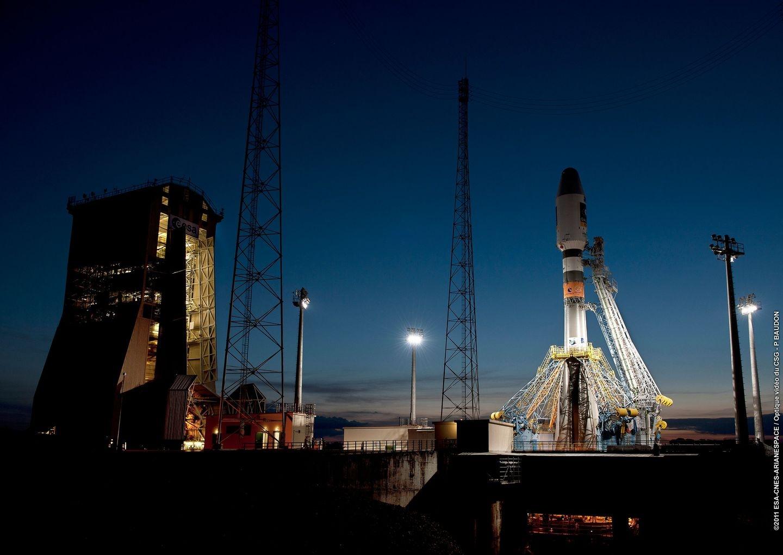 Zone de lancement Soyouz lors du 1er lancement au CSG